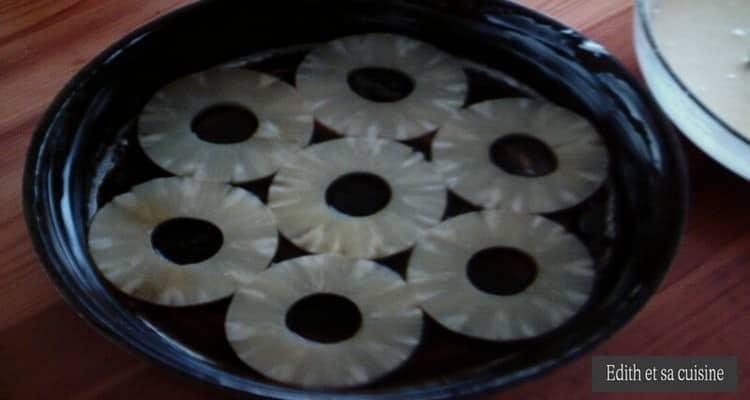 gâteau renversé ananas rondelles