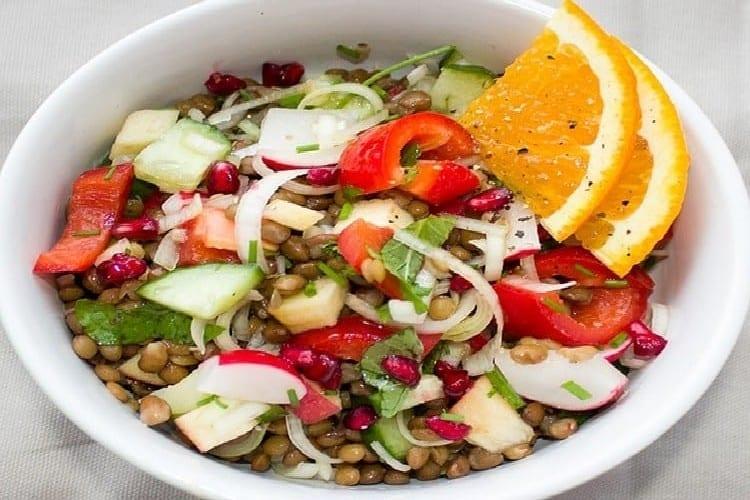 lentilles olives vertes salade