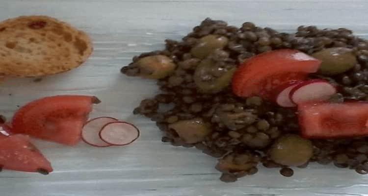 lentilles olives vertes