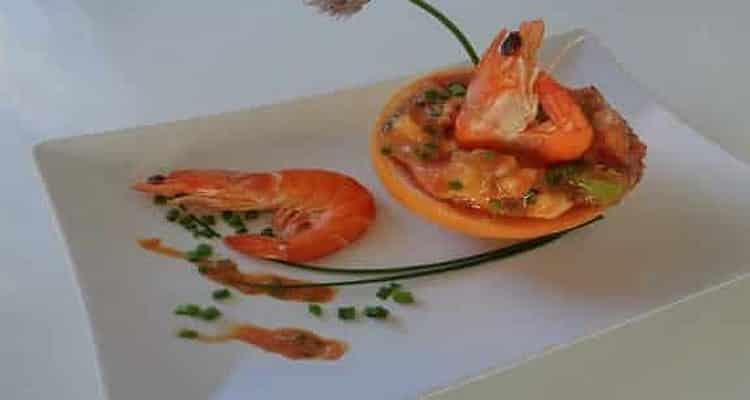 pamplemousse aux crevettes presentation du plat