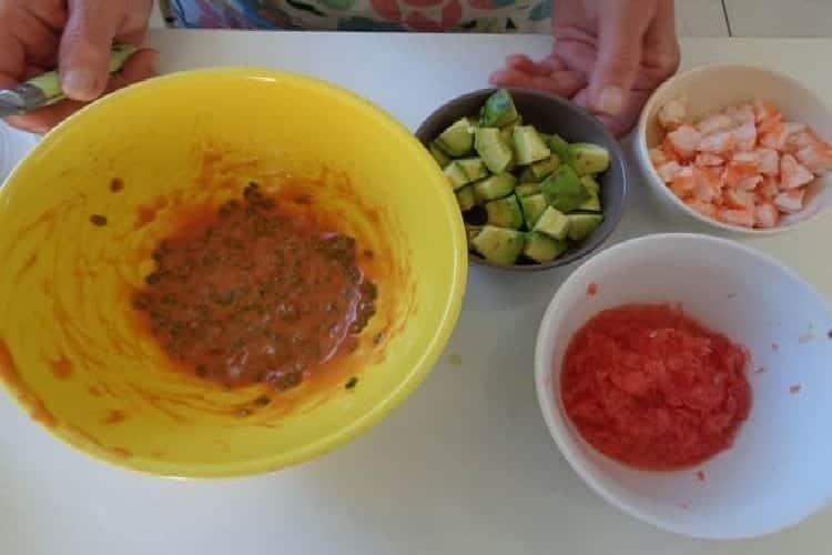 pamplemousse aux crevettes sauce