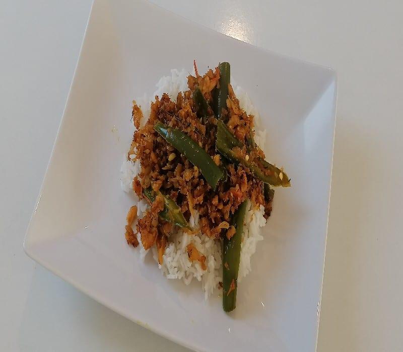 rougail la morue - Cuisine végétarienne - Riz cuit
