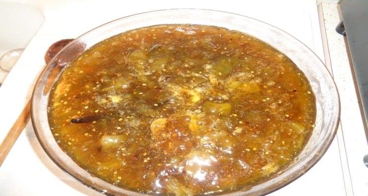 confiture de tomates vertes cuisson