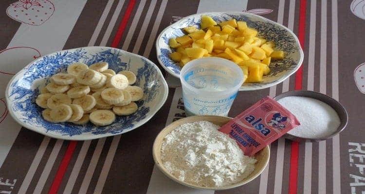 recette de cake mangue banane, les ingrédients