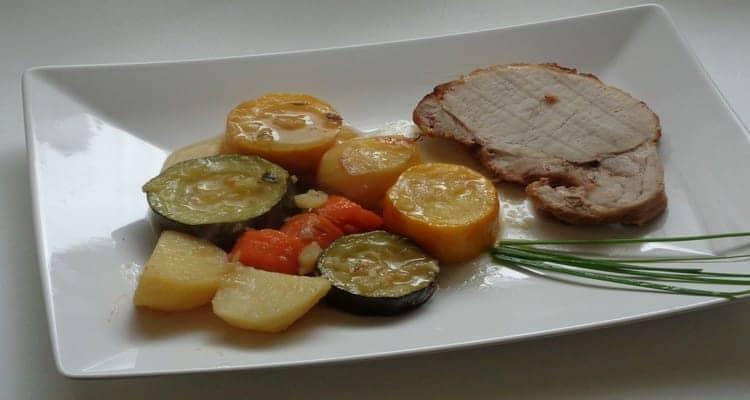 Recette rôti de porc en cocotte aux légumes cuit au four
