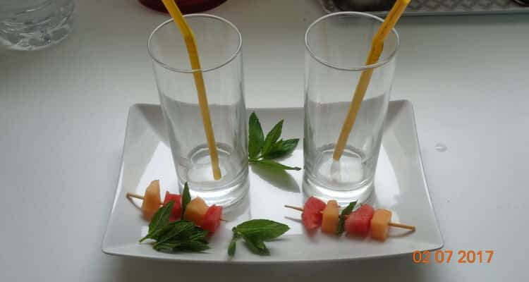 gaspacho melon menthe verres vides
