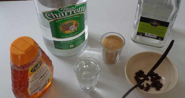 Rhum arrangé grain de café-vanille les ingrédients