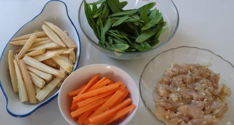 Wok pois mange-tout, les ingrédients