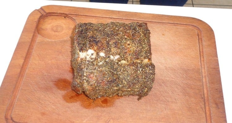 filet de porc en croûte d'herbes, la cuisson