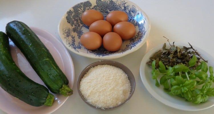 les ingrédients de la frittata courgettes