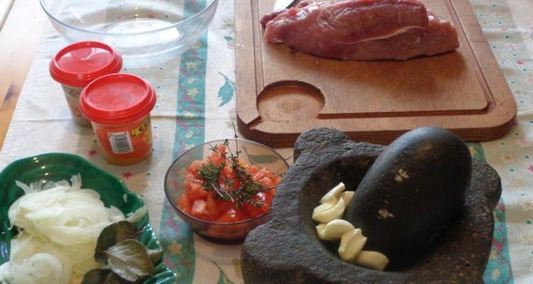 ingrédients pour préparer le rouelle de porc au massalé