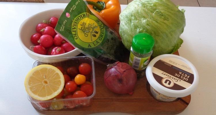 salade grecque tous les ingredients