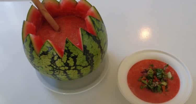 gaspacho pastèque,recette à la menthe