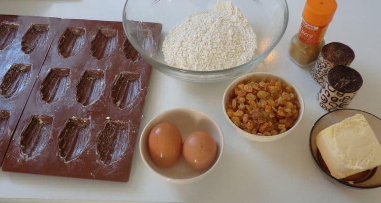 madeleine salee au curry les ingredients pour la recette
