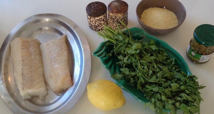 pavés de cabillaud pané tous les ingredients