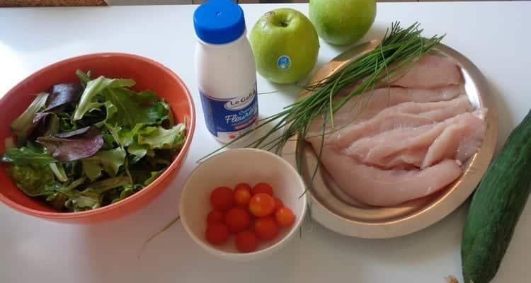 salade poulet pommes Granny Smith, tous les ingrédients