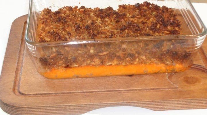Crumble purée patate douce noix de pécan et miel.