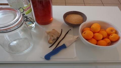 rhum arrangé kumquat tous les ingrédients pour la préparation