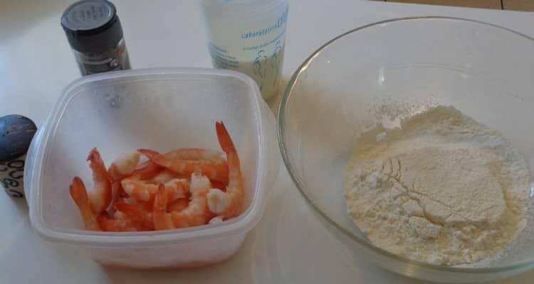 beignets de grosses crevettes, tous les ingrédients
