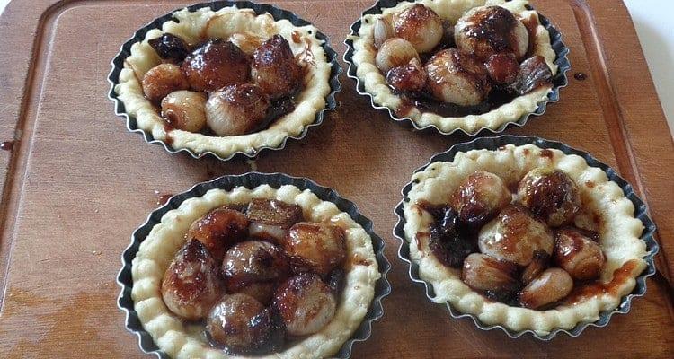 Tartelette Petits Oignons Blancs fin de cuisson