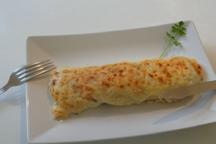 crêpe roulée champignon jambon
