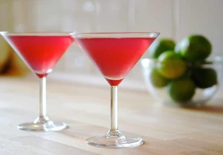Cocktail jus de Cranberry Rhum Blanc citron orange + épices.