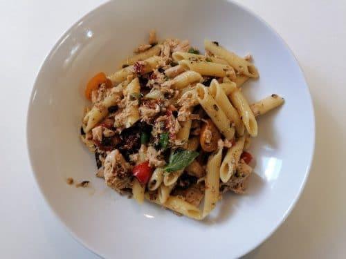 Spaghetti alla puttanesca - Kiriboshi daikon