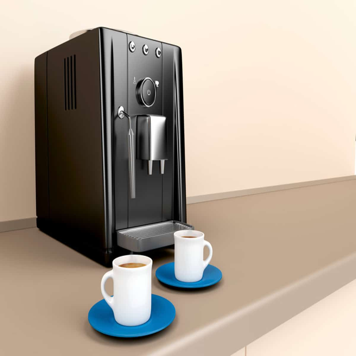 Automatic coffee machine and two espresso cafetière cups in the kitchen