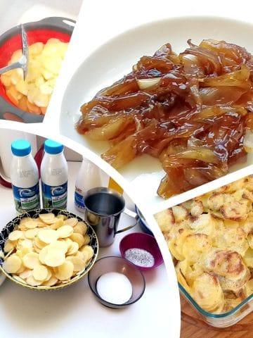 gratin pomme de terre rôti porc mozaique