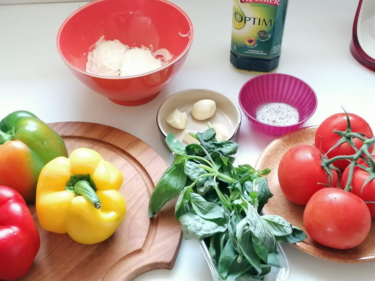 les ingrédients pour faire la Peperonata Ricetta