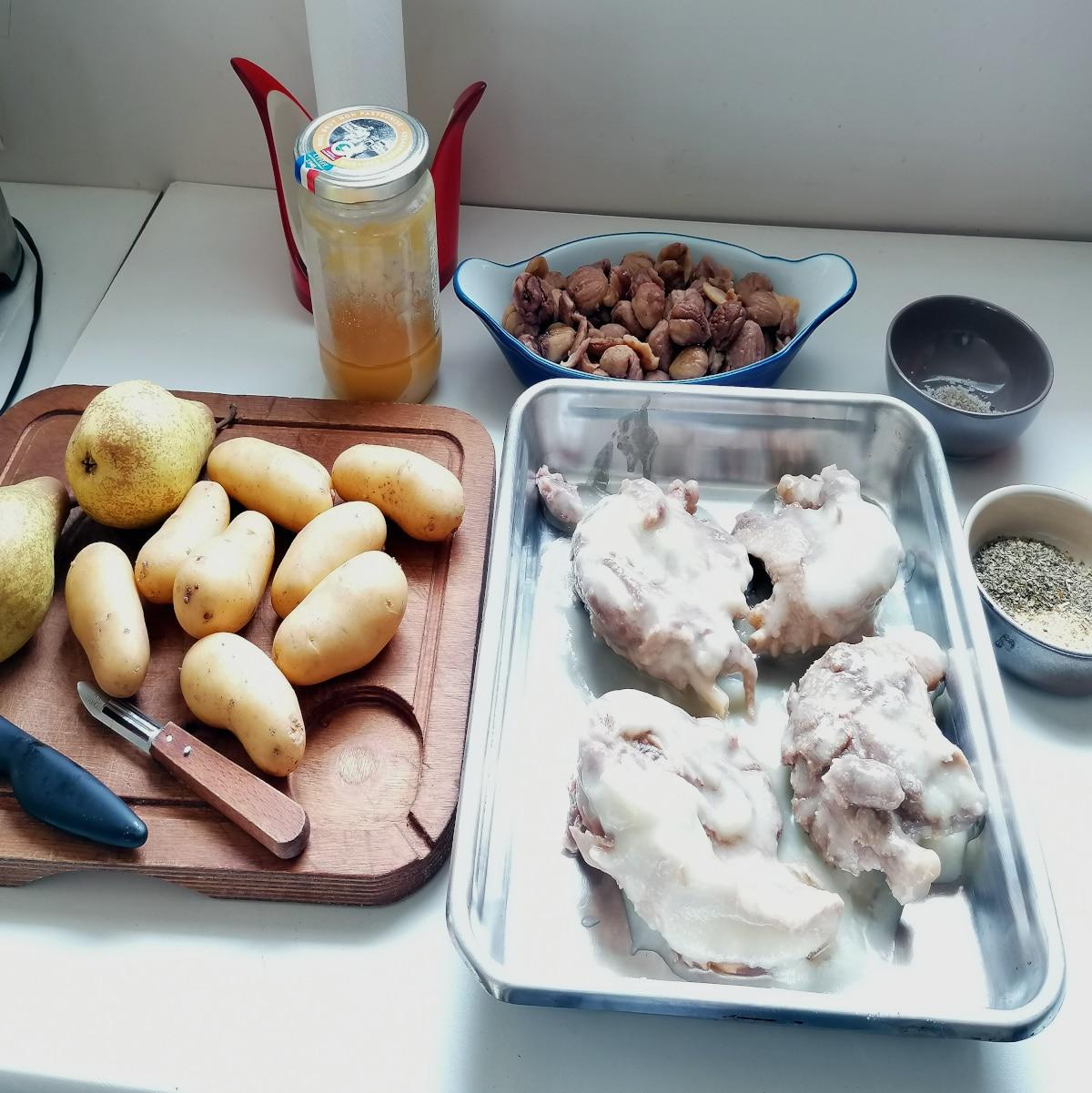 tous les ingrédients pour le confit de canard aux châtaignes